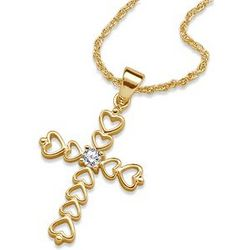 14K Gold Over Sterling April Birthstone Heart Cross Necklace