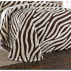 Zebra Chenille Queen Bedspread