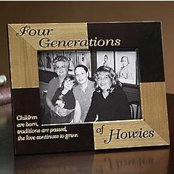 Personalized Oak Five Generations Children are Born Frame