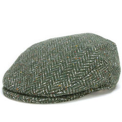 Vintage Irish Donegal Green Herringbone Tweed Cap