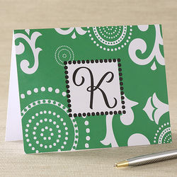Emerald Elegance Note Cards and Envelopes