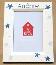 Personalized Hand-Painted Picture Frame with Star Pattern