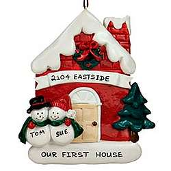Red House with Snow People Personalized Christmas Ornament