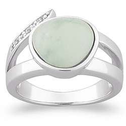 Sterling Silver Jade Cabochon Ring with CZ Accent