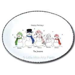 Personalized Snow People Portrait Platter