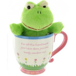 """Thank You for Being You"" Mug and Frog Plush Set"