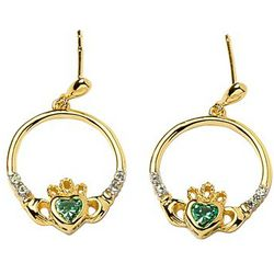 Gold-Plated Claddagh Earrings