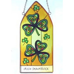 Irish Shamrock Painted Glass Window Hang