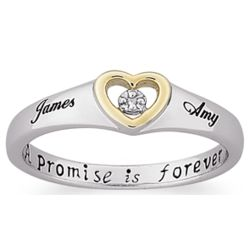 Sterling Silver Couples Name Diamond Heart Promise Ring