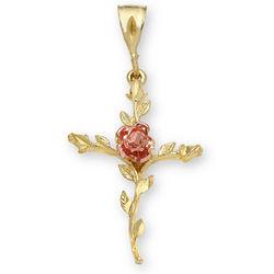 14K Gold Rose of Sharon Cross Pendant