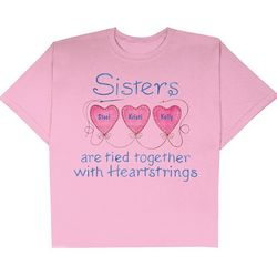 Personalized Sisters Heartstrings T-Shirt