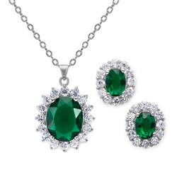 11.5 Carat Simulated Emerald Earring and Pendant Set