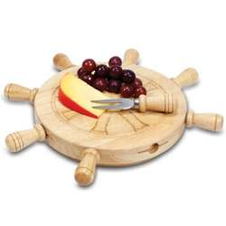 Ships Helm Revolving Wood Cheese Board and Tool Set