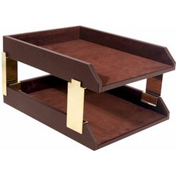 Legal Double Executive Leather Desk Tray