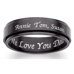 Black Titanium Engraved Message Slim Spinner Band
