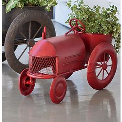 Red Metal Vintage Style Tractor Planter