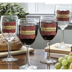 Personalized Tan Stripe Wine Glass Set