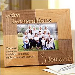 Personalized Oak Five Generations Name Carries On Frame