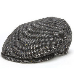 Vintage Irish Donegal Grey Salt and Pepper Tweed Cap