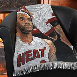 LeBron James Miami Heat Woven Tapestry Blanket