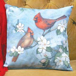 Spring Cardinals Print Pillow