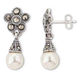 Nouveau Pearl and Marcasite Earrings