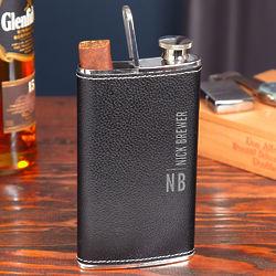 Calvin Black Leather Hip Flask and Cigar Holder