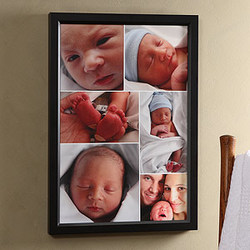 6 Photo Collage Framed Baby Canvas Print