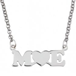 Sterling Silver Couples Initial Heart Necklace