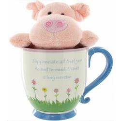 """Thank You for Being You"" Mug & Pig Plush"