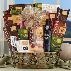 Fonseca Port and Godiva Chocolate Gift Basket