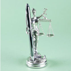 Silver Plated Lady Justice Pen Holder Statuette