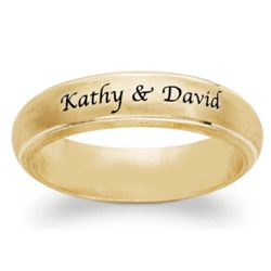 18K Gold Over Sterling Top-Engraved Name/Message Satin Band