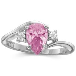 Sterling Silver Pink CZ Pear Solitaire Ring