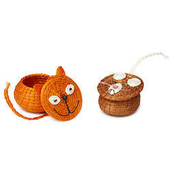 Hand-Woven Cat or Mouse Baskets