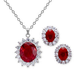 11.5 Carat Simulated Ruby Earring and Pendant Set
