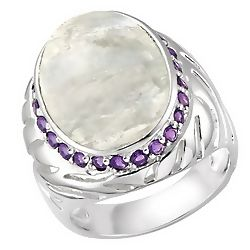 Rainbow Moonstone and Amethyst Sterling Silver Ring