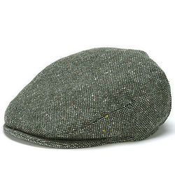 Vintage Irish Donegal Green Salt and Pepper Tweed Cap