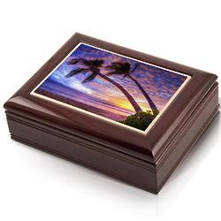 Hawaiian Sunset Tile Photo Musical Jewelry Box