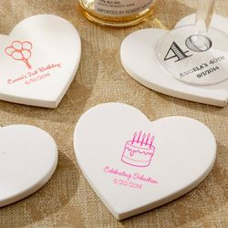 Birthday Personalized Heart-Shaped Stone Coasters