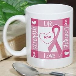 Ribbon of Heart Breast Cancer Awareness Personalized Coffee Mug