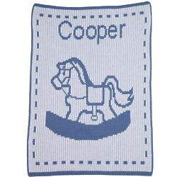 Personalized Rocking Horse Stroller Blanket