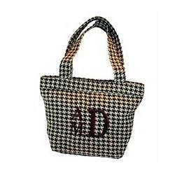 Monogrammed Houndstooth Handbag