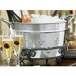 Fleur De Lis Aluminum Serving Tub and Iron Table Stand Set