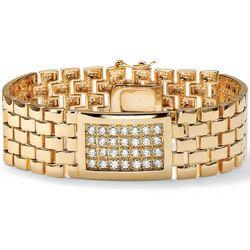 Men's Cubic Zirconia 14k Gold-Layered Panther Link Bracelet