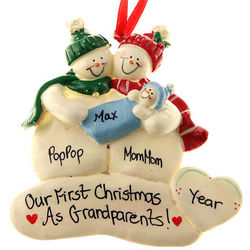 Grandparents' First Christmas with Baby Boy Personalized Ornament