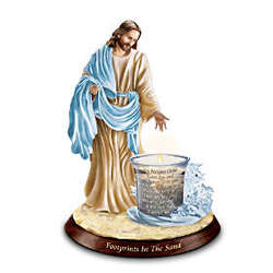 Footprints in the Sand Jesus Christ Inspirational Candleholder