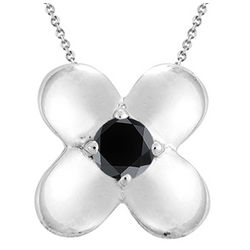 Black Diamond Solitaire Pendant in Silver