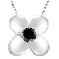 Black Diamond Solitaire Pendant in Silver