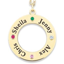 14K Gold Over Sterling Family Name and Birthstone Disc Pendant